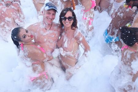 Carol and David in foam party – SDC Caribbean Dreams Cruise 2017