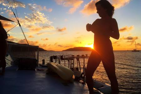 Carol 'fluffing' nipple for sunset pic - BVI trip 2017