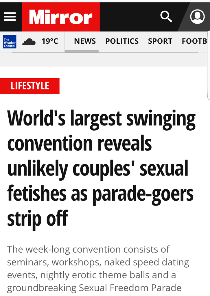 Mirror Article July 13, 2017 - World's largest swinging convention